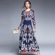 2017 autumn new woman Vintage Elegant Diamonds printing dress O-neck palace long sleeves lady fashion party dresses