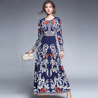 2017 autumn new woman Vintage Elegant Diamonds printing dress O-neck palace long sleeves dress lady fashion party long dresses