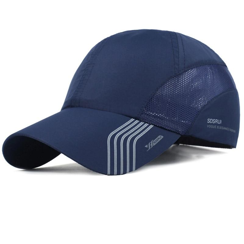 Prix pour Été respirant sport chapeaux hommes de maille casquettes de baseball réglable chapeaux hommes os snapback chapeaux séchage rapide mâle capuchon extérieur noir