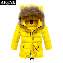 2016 New Girl Casual Winter Hooded Jacket Children Warm Thickening Coats Girls Long Sections Windproof Jackets OUMU133