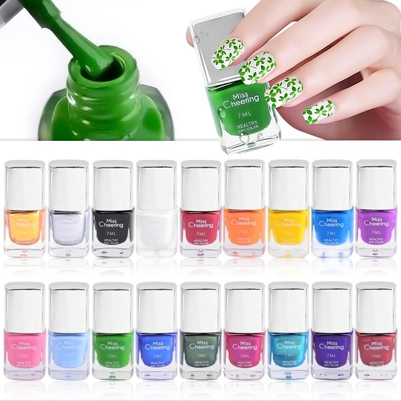 1 бутылка 7 мл 18 Цвета для художественного оформления ногтей лак для ногтей пластины печать Лаки штамп изображения передачи лаки для маникюр...