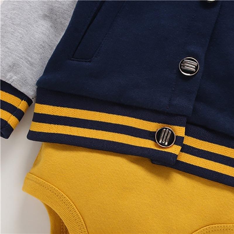 Купить с кэшбэком 2019 Spring Autumn New Fashion 3PCS Baby Boy Girl Clothing Set of Coat Bodysuit Vest & Pants, Kids Clothes Cardigan Set
