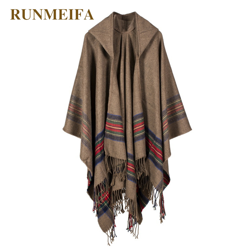 New Design 100% ACRYLIC Foulard Femme Autumn / Winter Warm Fashion Cloak Poncho 130*150CM Black/Gray/Wine Red/Khaki Tippet Shawl
