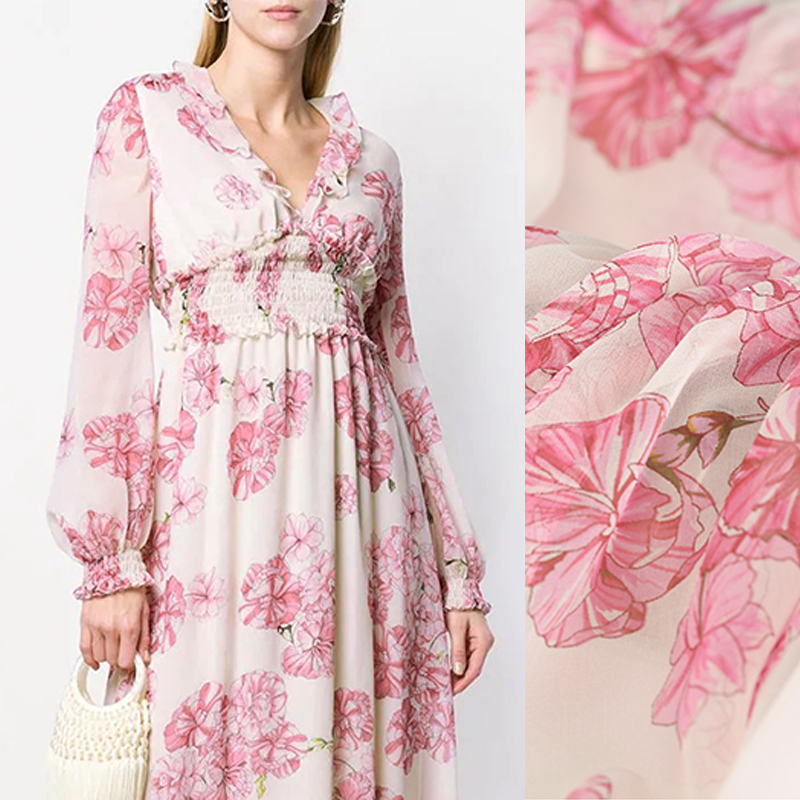 Pink Floral Georgette Fabric
