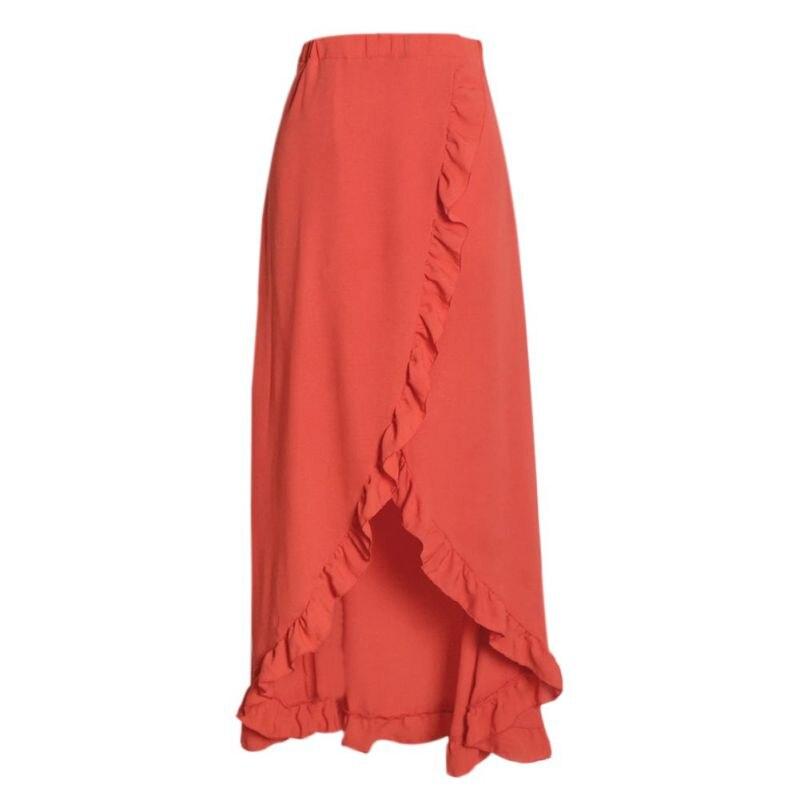 Summer Back Lace Up Solid Maxi Holiday Skirt  Design Irregular High Split Ruffle Hem Skirt Women Beach Party Long Skirts