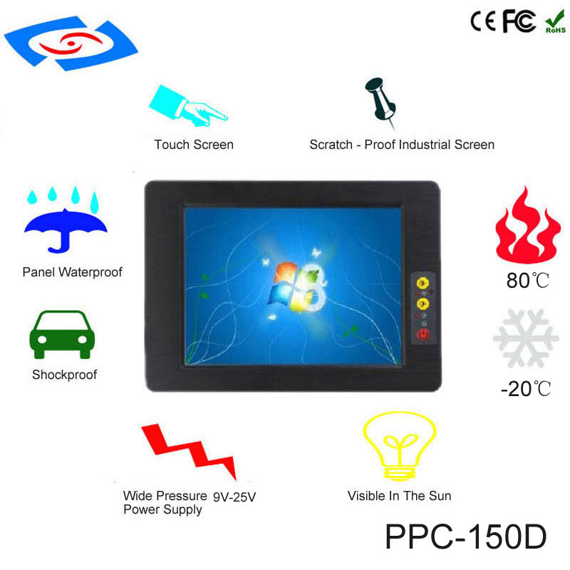 High Quality 15 Inch Embedded Mini Fanless Industrial Panel PC With Touch Screen Support 3G Modem Black Case For Ticket Machine