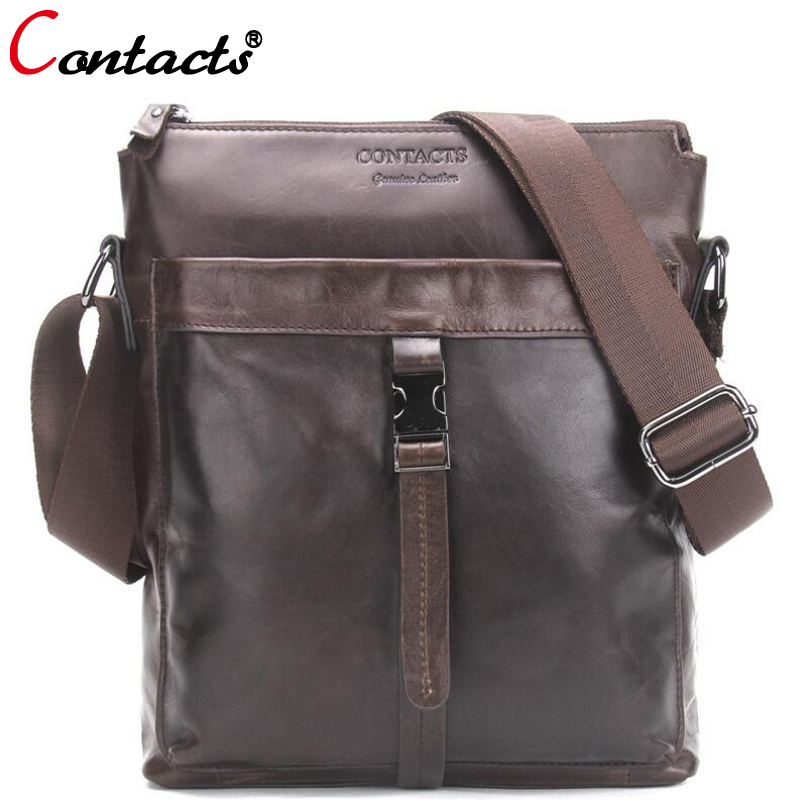 цена на CONTACT'S Genuine Leather Men Bags 2018 new fashion Male Messenger Bag Man Crossbody Shoulder Bag Men's notebook Travel Bags