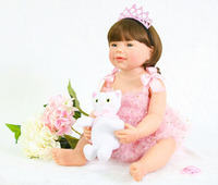 55cm Full Silicone Reborn Baby Doll Toy For Girl Boneca Vinyl Princess Newborn Babies With Cat Fashion Birthday Gift Bathe Toy