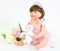 55cm Full Silicone Reborn Baby Doll Toy For Girl Boneca Vinyl Princess Newborn Babies With Cat Fashion Birthday Gift Bathe Toy