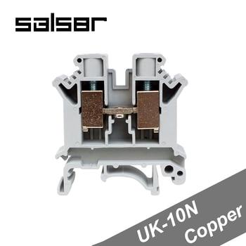 (10PCS) Universal Terminal Blocks UK-10N 10mm2 800V 76A DIN Rail Mounted Copper Connector Barrier Screw Type UK10N