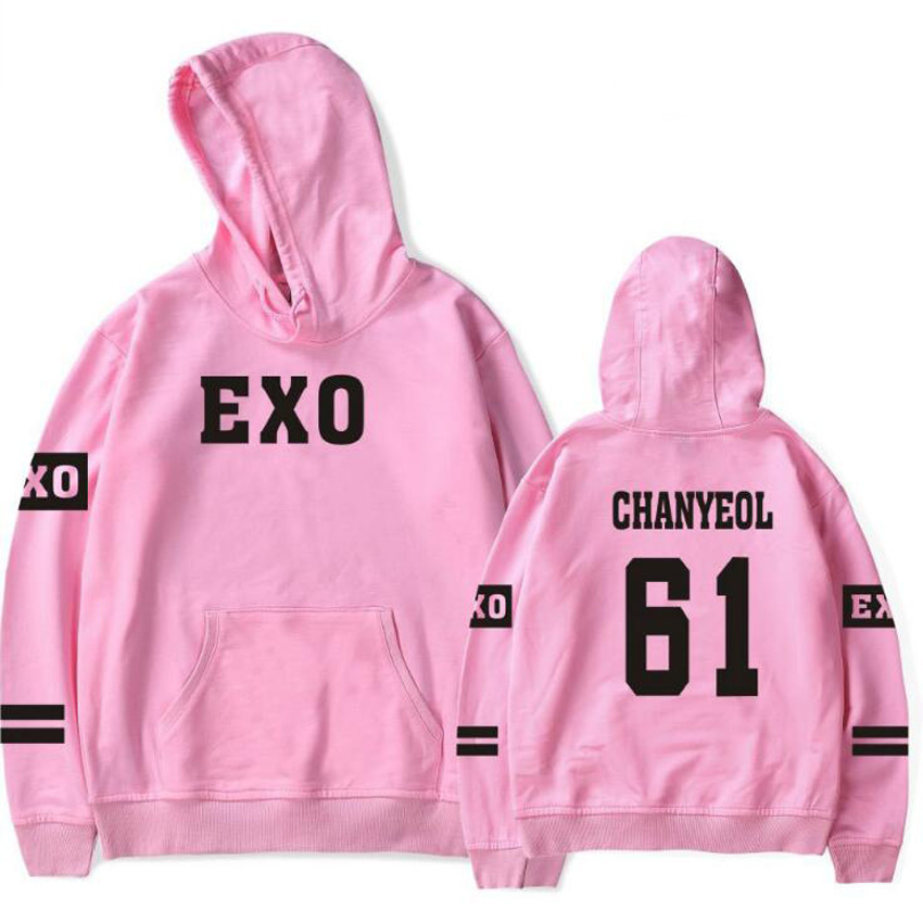 Winte Korean K POP K-POP KPOP EXO KRIS LUHAN SUHO LAY CHANYEOL KAI XIUMIN BAEKHYUN Fleece Pink Hoodie Sweatshirt For Women Men