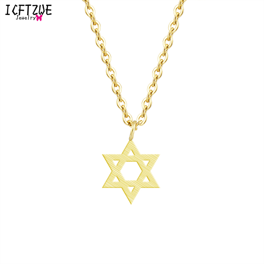 Minimalism Collier Femme Fashion Jewish Jewelry Star of David Pendant Stainless Steel Necklace Rose Gold Kettingen Voor Vrouwen