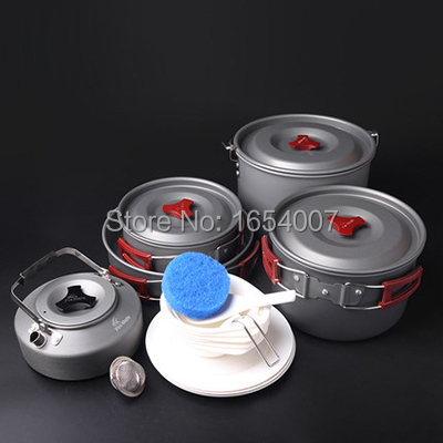 6-7 Persons Set Be Cocina Frying Pan+Cauldron+Medium Pot+Pannikin+Tea Pot Camp Cookware Outdoor Cutlery Fire Maple FMC-212