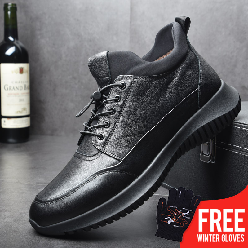 OSCO Brand New Men Shoes Winter Warm Shoes Genuine Leather Fashion Sneakers Male Lace-UP Zipper Shoes High Top Casual Flat Shoes