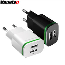 Vanniso 5V 2.1A USB Charger for iPhone XS Samsung s8 2 Ports Mobile Phone Universal Fast LED Light Wall Adapter Tablets