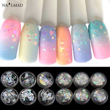 6jars AB Nail Glitters Mixed Shape Paillette Mermaid Sequins Holographic Polishing Spangles Flakes Slice Decoration Tips