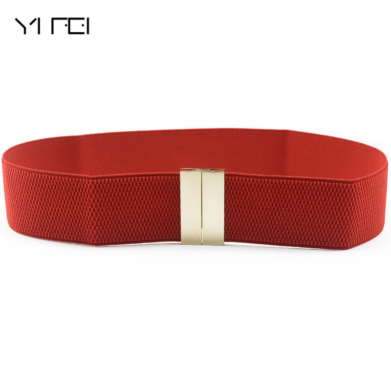Alloy Buckle Wide Elastic Stretch Waist Belt New Vintage Design Belt For Women Female PU Leather Fashion Joker Belt