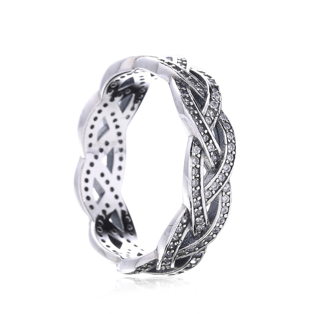 925 Sterling Silver Braided Sparkling Ring lBWCYY1DyL