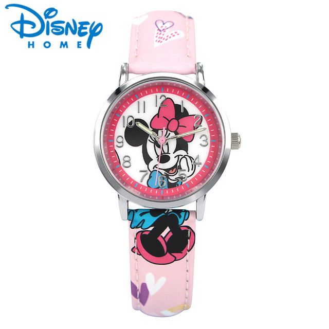 100% Genuine Disney Fashion Boys Girls Quartzl Watch for Kids Mickey Minnie Cart