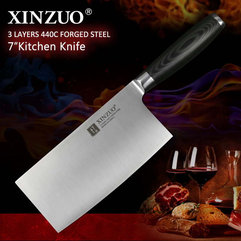 XINZUO 7 Big Chinese Cleaver Knife 3 layer 440C Clad Forged German Stainless Steel Micarta Handle