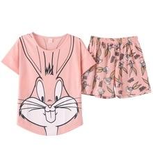 2019 Pijamas de Verão Mulheres coelho encantador Dos Desenhos Animados Pijamas Calções Definido Feminino Bonito Sexy Noite Terno Sleepwear Algodão quintal grande M XXL