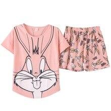 2019 lato Pijamas kobiety piękny królik Cartoon piżamy zestaw szortów kobiet słodkie Sexy strój na noc bawełna bielizna nocna duże podwórko M XXL