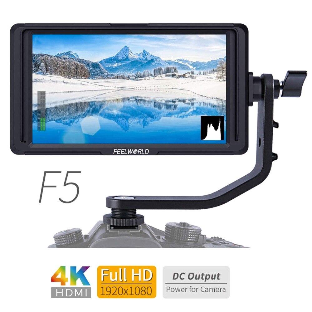 FEELWORLD F5 5 pouces DSLR sur le moniteur de champ de la caméra petit Full HD 1920x1080 IPS aide à la mise au point avec HDMI 4 K et bras inclinable