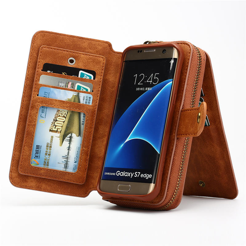 Multifunction Wallet phone Case For Samsung S4/5/6/7/s7/s8 EDGE/NOTE 4/5/8 for iphone 5 SE 6s plus 7 8 plus X Zipper Purse Pouch