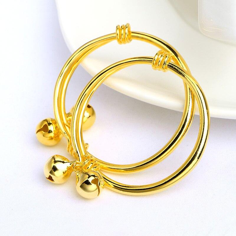 2Pcs/set cute pairs children bangle yellow gold filled