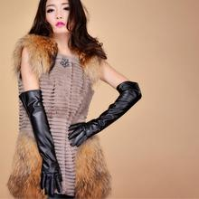 2016 autumn and winter fashion elegant synthetic leather gloves 50cm women's long gloves