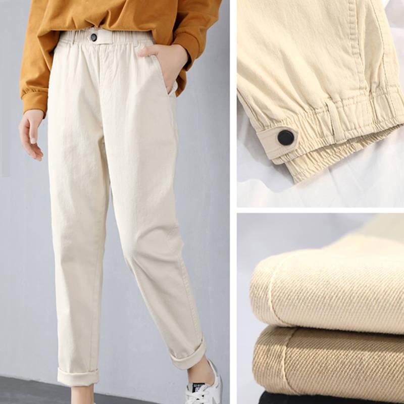 cotton   Jeans   for Women High Waist Harem Mom   Jeans   spring 2019 new plus size black women   jeans   denim pants beige black PP124