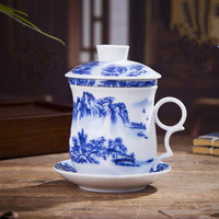 Brief Jingdezhen Ceramic Tea Cup High temperature Firing Blue and White Porcelain Cup With Lid Filter Convenient Office Cup Gift