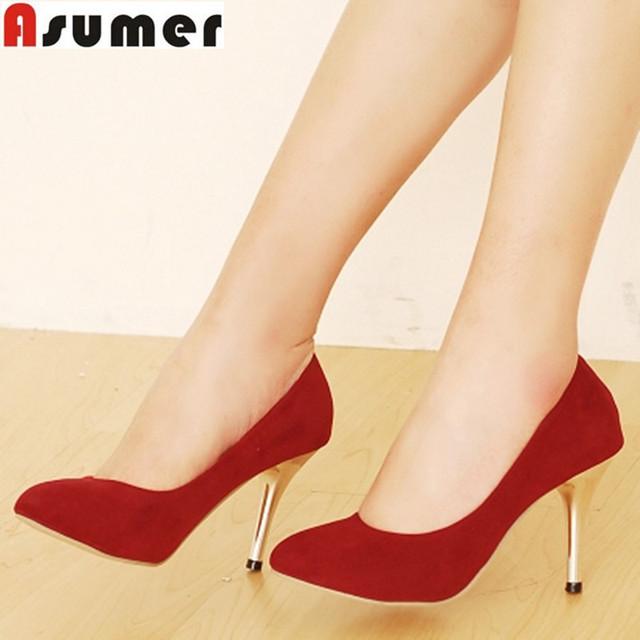 ASUMER 2016 tamaño 34-44 tacones altos de las mujeres bombea los talones finos sexy zapatos de vestir negro rojo marrón de la boda del partido gota gratis