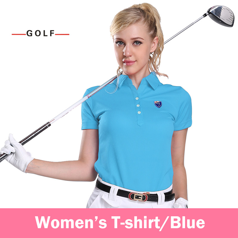 Ladies Golf Clothing Sports Shirts Short Sleeve T-shirt Genuine(Blue)