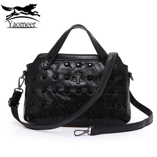 Luxury Black Rivet Shoulder Bag Female Women Bags Designer Handbags Famous Brand High Quality Soft Pu