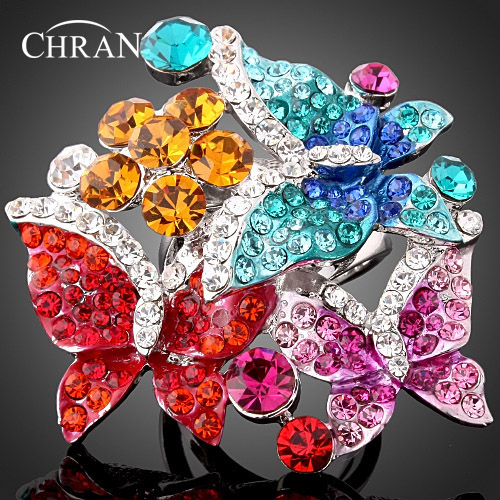 CHRAN Vintage Style Colorful Butterfly Promised Wedding Rings for Women Lovely Rhodium P ...
