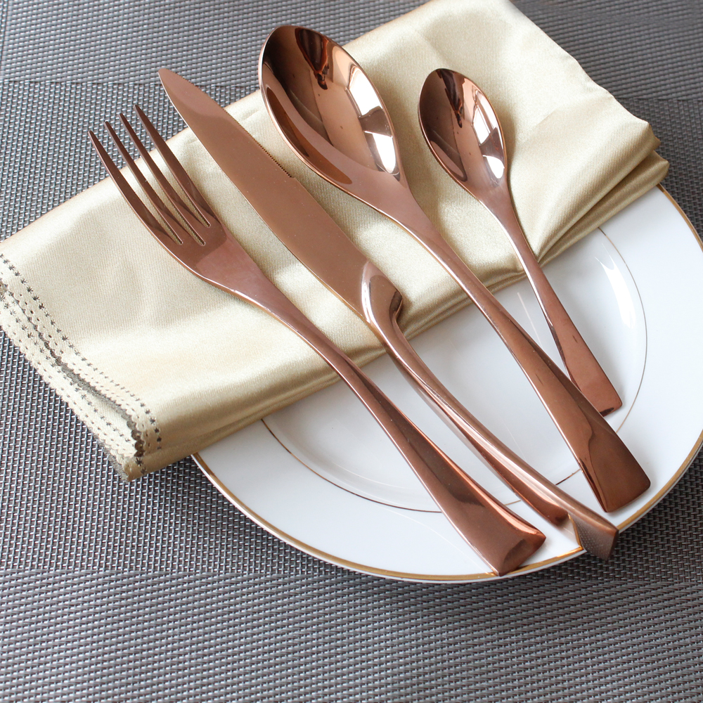 4pcs set 201 stainless steel tableware noble quality cutlery sets rose gold color dinnerware. Black Bedroom Furniture Sets. Home Design Ideas