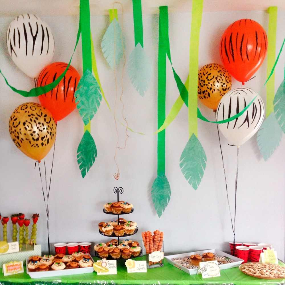 10pcs animais balões de aniversário decoração de aniversário dos miúdos do partido da selva brinquedos cabeça de animal inflável balão de hélio balões temáticos floresta