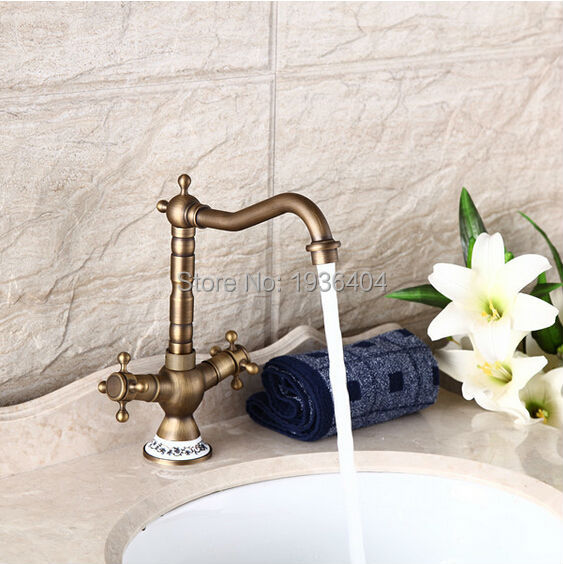 Newly Retro Bathroom Basin Antique Brass Faucets Double Handle 360 Swivel Faucet Crane Mixer Tap AF1075