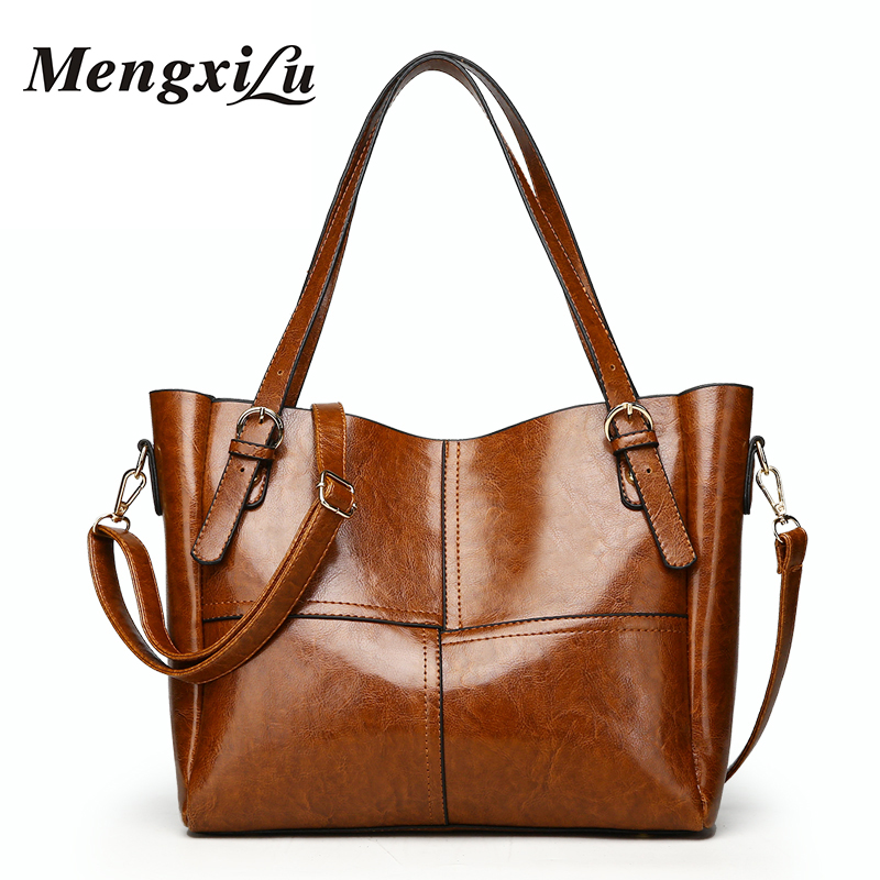 Designer Oil Wax Leather Women Handbags Patchwork Women Shoulder Bags Large Capacity Casual Tote Bags High Quality Ladies Bags charmiyi 2018 designer high quality leather women handbags large capacity female messenger bags casual ladies shoulder bag tote