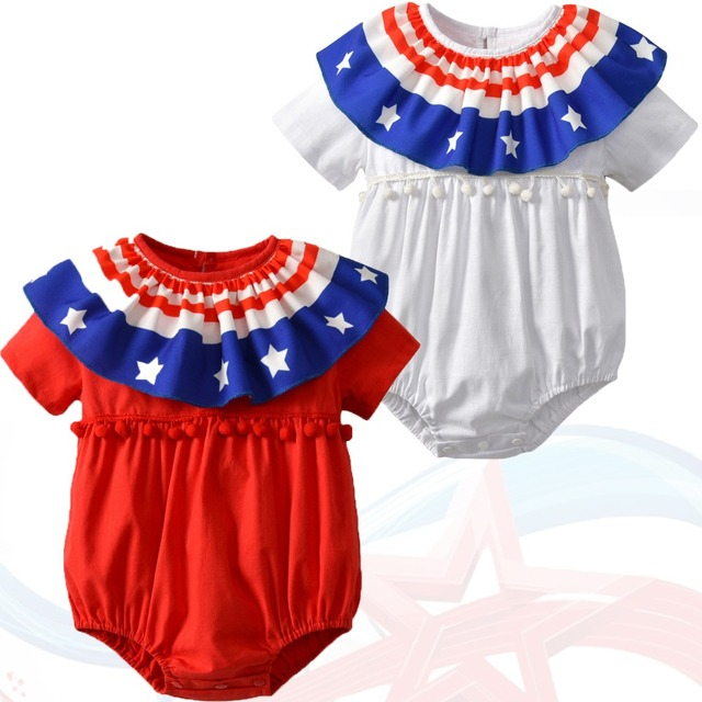 b523085e4 American Flag Clothing Floral Romper Newborn Boy Clothes Cotton Twins Baby  Rompers 4th Of July Baby Girl Onesie Infant Clothes