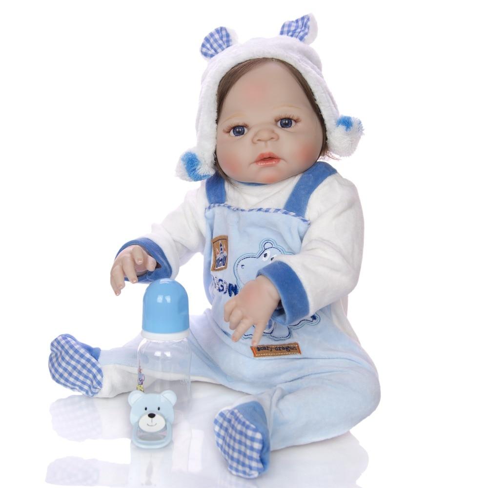 Adorable NPK 57CM Reborn Doll Handmade Full Silicone Bebes Reborn Boy Doll Boneca In Cute Clothes