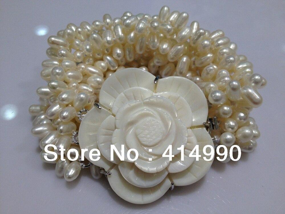 Mode bijoux de perles de coquillage bracelet freshwatermultilayer baroque perles bracelet perle bracelet véritable perle bracelet
