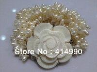 Trang sức shell flower trân bracelet freshwatermultilayer baroque ngọc trai vòng tay trân braclet bất trân bracelet