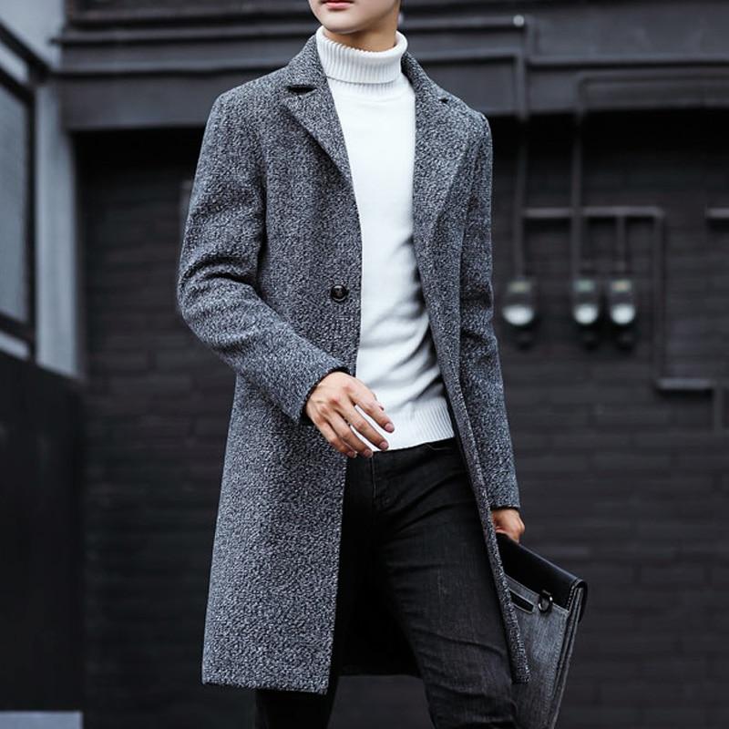 Nuevo gabardina larga para hombre, gabardina de lana de moda para hombre, cortavientos, sobretodo Steampunk para hombre, abrigos casuales C75NF21 - 2