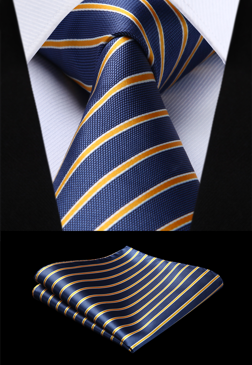 Woven Men Tie Blue Yellow Striped  Necktie Handkerchief Set#TS721B8S Party Wedding Classic Fashion Pocket Square Tie