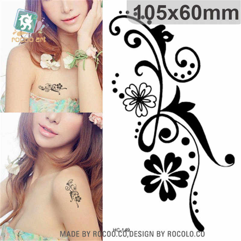 Body Art wterproof temporary tattoos paper for women simple 3D black flower design small tattoo sticker Wholesale HC1149