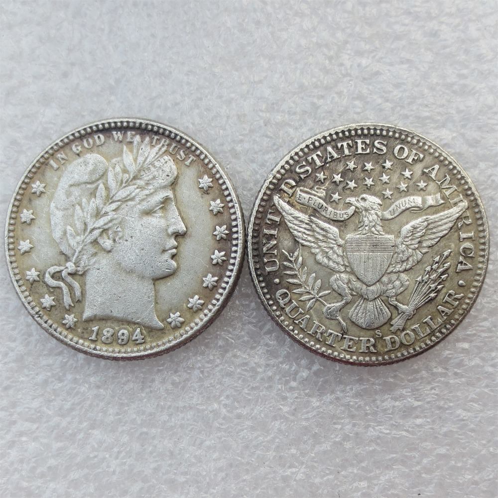 Barber Quarter Dollars Date 1894 1894O 1894S Different signs Material Silver Plated or 9 ...