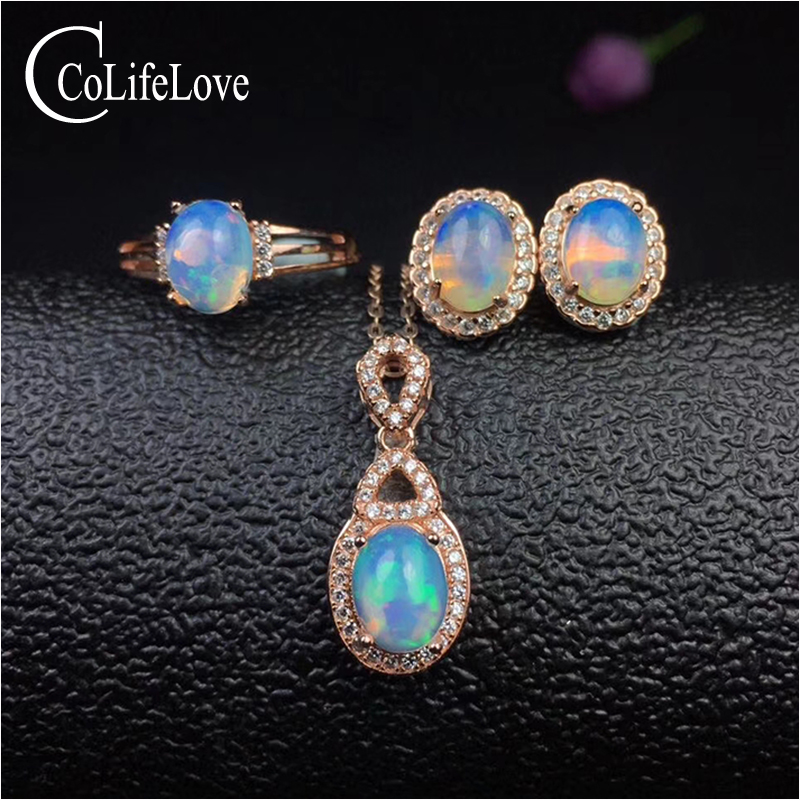 цена на 100% natural fire opal jewelry set for party 6 mm * 8 mm Australia opal ring pendant earrings set for woman silver opal jewelry