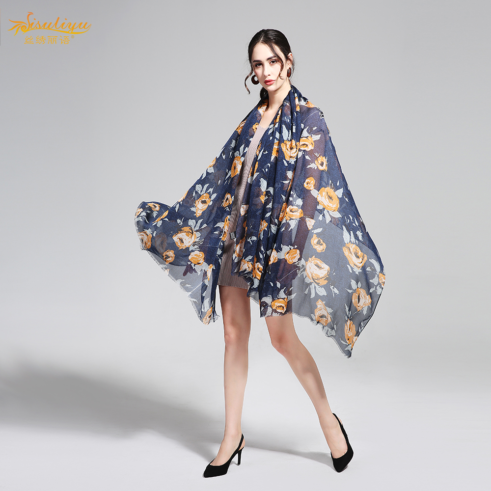 100% Silk Chiffon Scarf 130X200cm Natural Silk Fabric Fashion Plus Size Wrap China Silk Supplier Wholesale Long Scarf